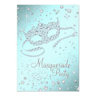 Teal Blue Diamond Mask Masquerade Party Card