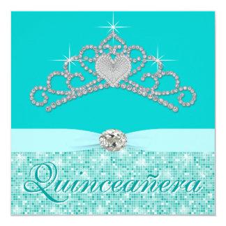 Teal Blue Diamond Tiara Teal Blue Quincenera Card