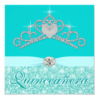 Teal Blue Diamond Tiara Teal Blue Quincenera 5.25x5.25 Square Paper Invitation Card
