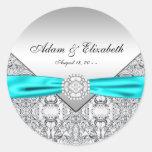 Teal Blue Diamond Wedding Classic Round Sticker