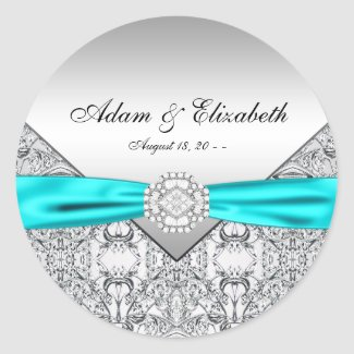 Teal Blue Diamond Wedding Favor Labels Round Stickers