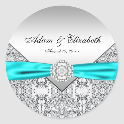 Teal Blue Diamond Wedding Favor Labels Round Stickers by WeddingCentral