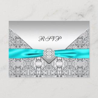 Teal Blue Diamond Wedding RSVP