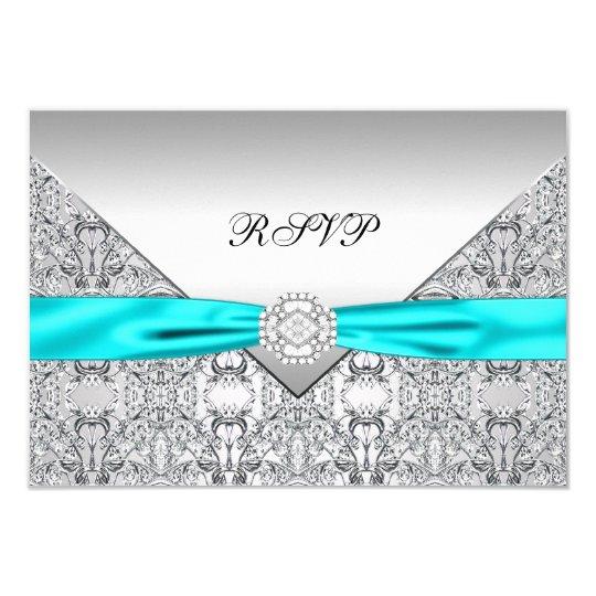 Teal Blue Diamond Wedding RSVP Card