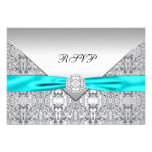 Teal Blue Diamond Wedding RSVP Personalized Invites