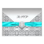 Teal Blue Diamond Wedding RSVP Personalized Invites
