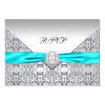 Teal Blue Diamond Wedding RSVP 3.5x5 Paper Invitation Card