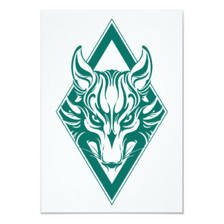 Teal Blue Diamond Wolf Face Graphic Personalized Invitations