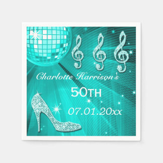 Teal Blue Disco Ball and Sparkle Heels 50th Paper Napkin