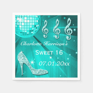 Teal blue Disco Ball and Sparkle Heels Sweet 16 Napkin