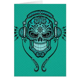 Teal Blue DJ Sugar Skull Greeting Cards
