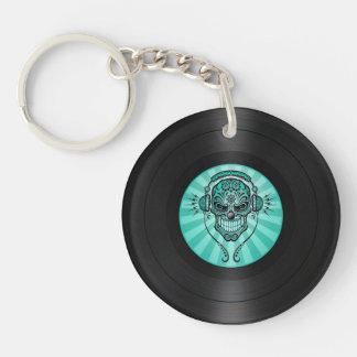 Teal Blue Dj Sugar Skull on Vinyl Record Graphic Keychain