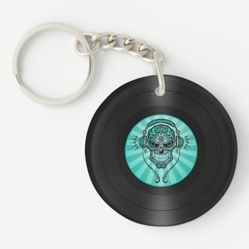 Teal Blue Dj Sugar Skull on Vinyl Record Graphic Keychain