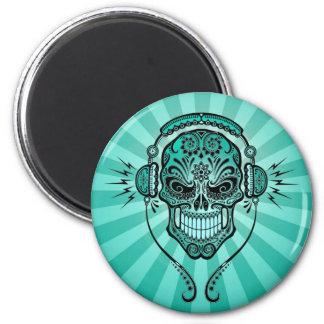 Teal Blue DJ Sugar Skull with Rays of Light Refrigerator Magnet