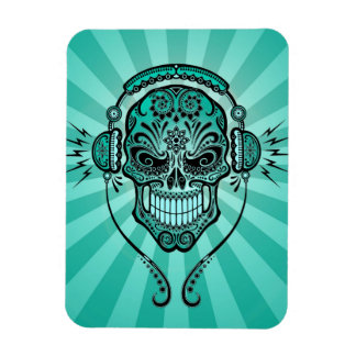 Teal Blue DJ Sugar Skull with Rays of Light Rectangle Magnet