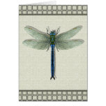 Teal Blue Dragonfly Card