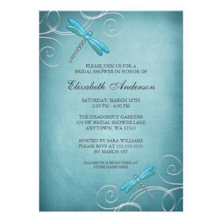 Teal Blue Dragonfly Swirls Bridal Shower Invitations