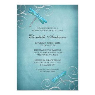 Teal Blue Dragonfly Swirls Bridal Shower 5x7 Paper Invitation Card