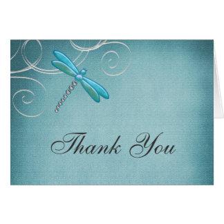 Teal Blue Dragonfly Swirls Thank You Card