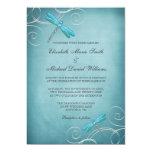 Teal Blue Dragonfly Swirls Wedding Card