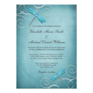 Teal Blue Dragonfly Swirls Wedding Custom Invites
