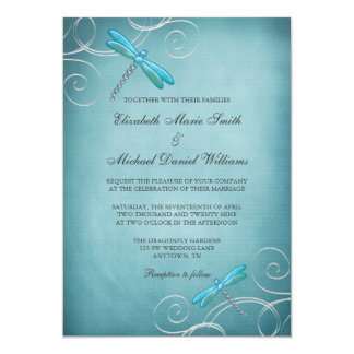 Teal Blue Dragonfly Swirls Wedding Invitation