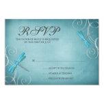 Teal Blue Dragonfly Swirls Wedding Response Card