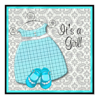 Teal Blue Dress Shoes Teal Damask Baby Girl Shower Personalized Invite