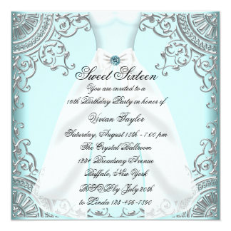 Teal Blue Dress Teal Sweet 16 Birthday Party Card