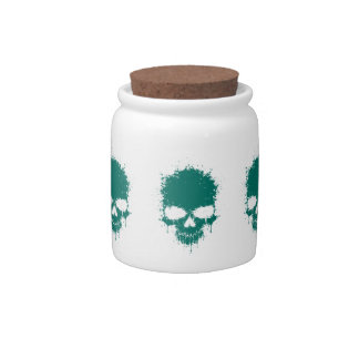Teal Blue Dripping Splatter Skull Candy Jar