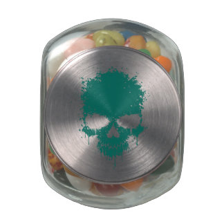 Teal Blue Dripping Splatter Skull Jelly Belly Candy Jars