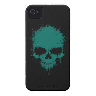 Teal Blue Dripping Splatter Skull Case-Mate iPhone 4 Case