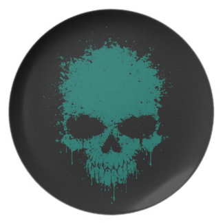 Teal Blue Dripping Splatter Skull Party Plate