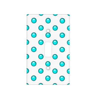 Teal Blue Droplet/Button Dot Design Light Switch Cover