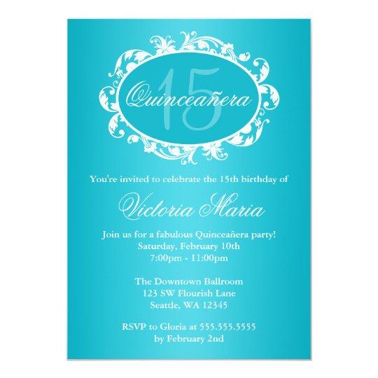 Teal Blue Elegant Swirl Quinceanera Birthday Party Card