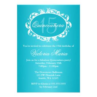 Teal Blue Elegant Swirl Quinceanera Birthday Party Invites