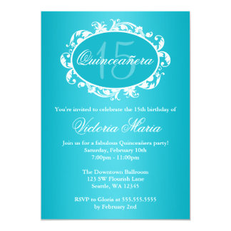 Teal Blue Elegant Swirl Quinceanera Birthday Party Invites
