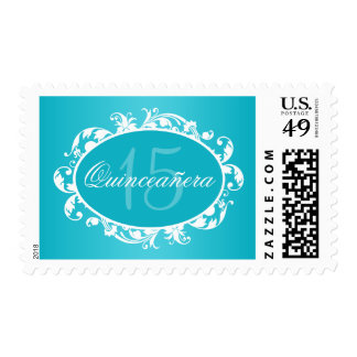 Teal Blue Elegant Swirl Quinceanera Birthday Party Postage Stamp