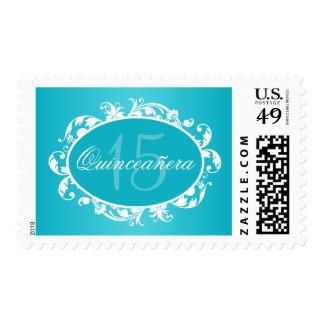 Teal Blue Elegant Swirl Quinceanera Birthday Party Postage Stamp