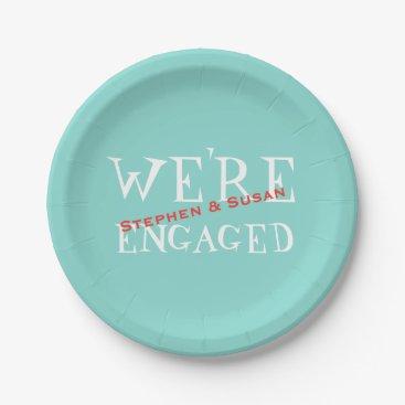 Teal Blue Engagement Crawfish Boil Party Plates