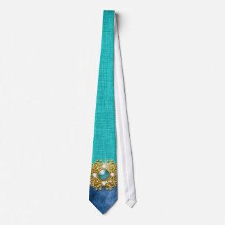 Teal blue exclusive men's party neck tie