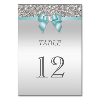 Teal Blue Faux Bow Silver Sequins Card