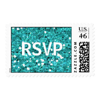 Teal Blue Faux Glitter RSVP stamps