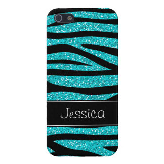 Teal Blue Faux Glitter Zebra Personalized Case For iPhone SE/5/5s