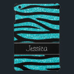"Teal Blue Faux Glitter Zebra Personalized Cover For The iPad Mini<br><div class=""desc"">A trendy teal blue and black zebra pattern with a black stripe is featured on this iPad Mini case. Preppy and cute. Easily personalize with your name! Designs are flat printed illustrations/graphics - NOT ACTUAL GLITTER</div>"