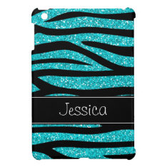 Teal Blue Faux Glitter Zebra Personalized Cover For The Ipad Mini at Zazzle