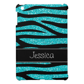 Teal Blue Faux Glitter Zebra Personalized iPad Mini Covers