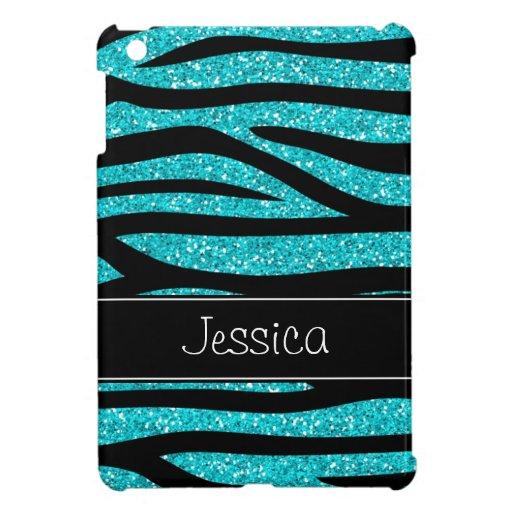 Teal Blue Faux Glitter Zebra Personalized iPad Mini Covers