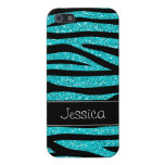 Teal Blue Faux Glitter Zebra Personalized iPhone 5 Cover