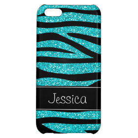 Teal Blue Faux Glitter Zebra Personalized iPhone 5C Cases
